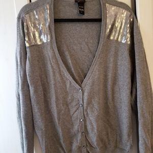 Torrid 2x grey sequin shoulder cardigan